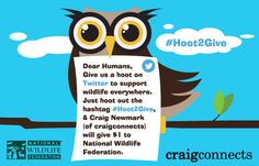 #hoot2give on any social platform you use!