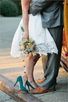 green wedding shoes and a tea length dress