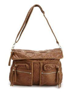 Exposed Zipper Multi-Pocket Satchel, $32.50; charlotterusse.com