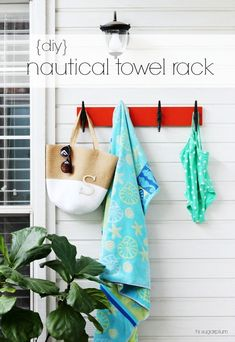 Hi Sugarplum | Nautical Towel Rack, inspired by Pottery Barn Cleat Rack