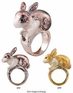 Alice in Wonderland Bunny Ring in Enamel with Crystals