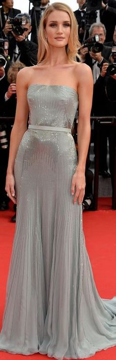 Who made Rosie Huntington-Whiteley's silver strapless beaded gown that she wore in Cannes on May 21, 2014?