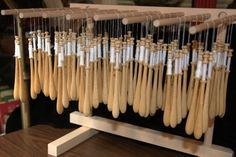 It's a pasta rack but wait there's more.  This is 8 dozen bobbins I was getting ready for a class.  Smile.