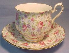 Chintz Rosebud china and saucer. So pretty.