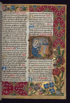 Historiated initial of the nativity. The border is decorated with jewels, insects and flowers. Walters Museum MS W.175, f.13r. Image declared as public domain on the Walters Museum website.