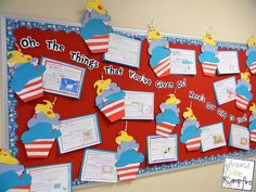 Oh, The things That You've Given Us! Seuss week bulletin board clouds, classroom, books, students, bulletin boards, drseuss, gifts, display, dr seuss