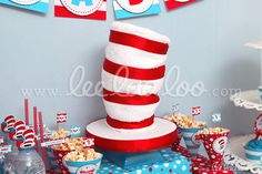 Fun party decorations at a Dr. Seuss party!  See more party ideas at CatchMyParty.com!