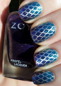 Mermaid tail nails. Zoya Charla and Zoya Mimi