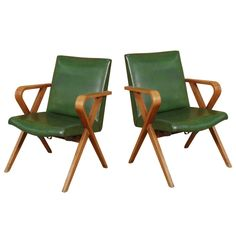 Mid-Century Modern Thonet Bentwood Upholstered Armchairs, Pair