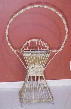 Antique Wicker Plant Fern Stand with Bird Cage Hoop Nice