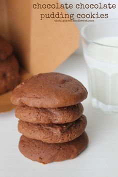 Chocolate Chocolate Pudding Cookies--Chocolate pudding cookie that is moist on the inside with a little bit of crunch on the outside complimented with cinnamon!