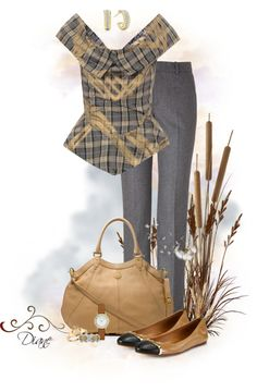 """""""Grey & Tan"""" by diane-hansen ❤ liked on Polyvore"""
