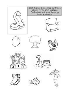 Hörübung mit der Schlange Simon - Therapiematerial für die Logopädie