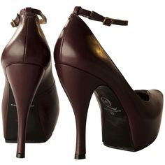 McQ Alexander McQueen Burlesque Oxblood Mary Jane Shoes ($375) ❤ liked on Polyvore