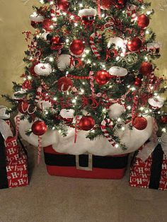 ADORABLE! Tree basket made from red storage bin! holiday, storag bin, tree basket, belt buckles, christma tree, red storag, storage bins, laundry baskets, christmas trees