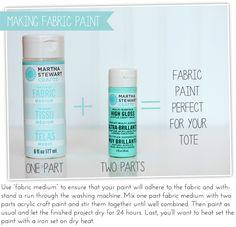 How to mix Martha Stewart Crafts Craft Paint with a fabric medium #marthastewartcrafts