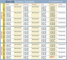 A handy first #5k training schedule. #infographic #fitness #running