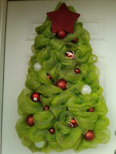 Large Christmas Tree Wreath- Deco Mesh Christmas Tree Wreath.
