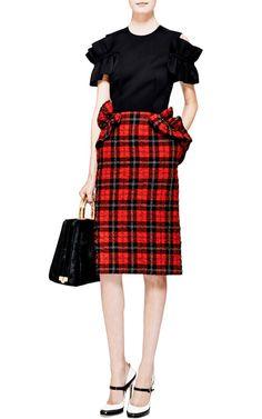 Ruffled Tartan-Plaid Skirt by Simone Rocha