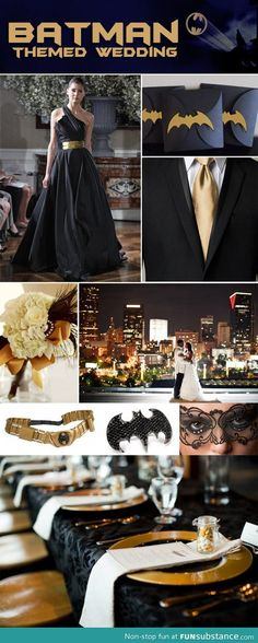 Batman themed wedding... Don't mind if I do. :) Ok people will see this and be like oh that is stupid!!!! I see it and say oh my gosh that's awesome !!!!!!
