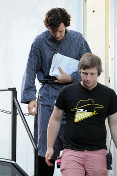 Benedict Cumberbatch, Martin Freeman, filming in Cardiff