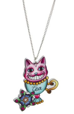 CHESHIRE CAT ALICE NECKLACE    Add the mischievous grinning Cheshire cat to your neckline! This Alice inspired necklace features the Cheshire cat sitting in a tea cup surrounded by a flower on a die-cut acrylic charm that hangs from a silver chain.    $15.00    #aliceinwonderland #fairytale #happilyeverafter #cheshirecat #drinkme #eatme #alice #madhatter #teaparty