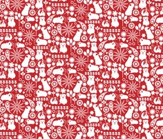 white on red guinea pig pattern print fabric