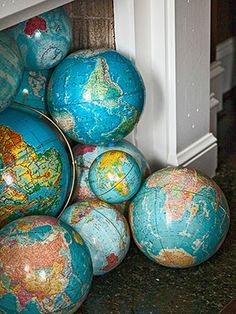 Vintage globes in my closet  ... Blessed Old Friends Around the Globe in my heart.