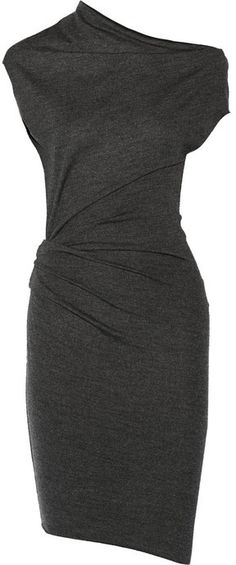 Helmut Lang Sonar Asymmetric Wool Dress ($290) | NET-A-PORTER. Designed in an asymmetric silhouette that's true to Helmut Lang's downtown aesthetic, this charcoal dress has day-to-dark appeal. Woven from wool threads that offer substantial stretch and give, it's the perfect piece to wear under a blazer at the office and then solo with sky-high sandals at dinner. Charcoal marled wool. Slips on. 100% wool. Dry clean