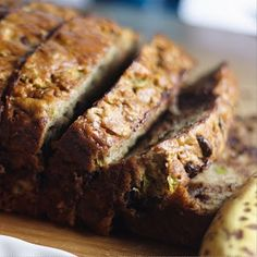 Zucchini Banana Bread yummm.  My son loves it because of the Chocolate chips in it...makes a yummy sweet treat to use up those bananas and zucchini! chocolate chips, brown sugar, bananas, sweet treats, healthy eating, banana bread, bread recipes, maple syrup, zucchini banana