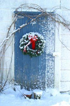 ~ Barn door in Warren, RI decorated for Christmas ~