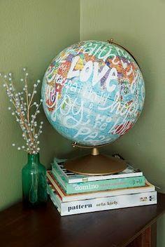 Globe & words.