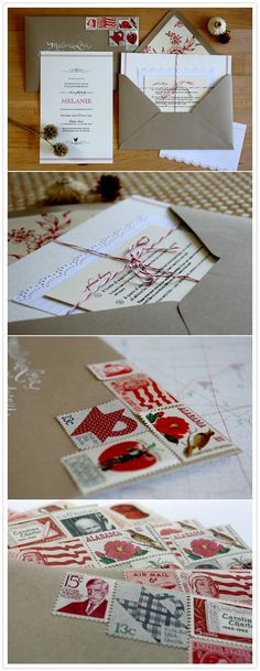 love the fun stamps and envelope liner. kraft paper and a splash of color