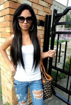 Love the jeans & her hair <3