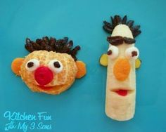 Details on how to make here;  http://kitchenfunwithmy3sons.blogspot.com/2011/06/ernie-and-bert-fruit-snack.html