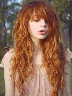 The LIGHTEST Of Reds.. Gold Red - Hair Color W/ Highlights....Long Long Layers w/ Bangs- Haircut .... Best On- Medium Curly Hair