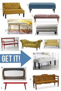 Benches are back in a big way! Join Michael of Inspired by Charm as he shares his favorites on the BHG Style Spotters Blog: http://www.bhg.com/blogs/better-homes-and-gardens-style-blog/2012/12/10/pin-it-get-it-benches/