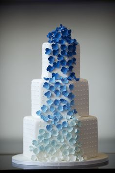 White Wedding Cake, Blue Ombre Flower Waterfall Photography by David Wittig Photography / davidwittig.com, Event Coordinator by Sweetchic Events, Inc. / sweetchicevents.com, Floral Design by Scarlet Petal / scarletpetal.com