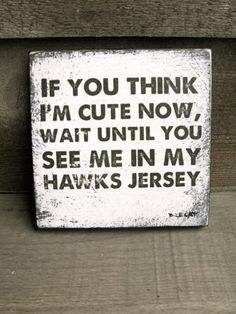 Vintage hockey sign. Go hawks!