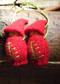 hand embroidered wool ornaments