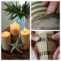 Dollar Candle Makeover! See how easy it is to make these coastal candles --> http://blog.hgtv.com/design/2013/02/20/adventures-in-antiquing-easy-beachy-candle-makeover?soc=pinterest