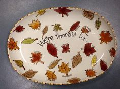 School auction idea: ceramic fall leaves platter