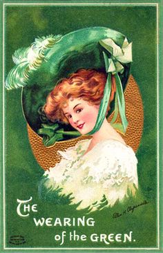 "This is a vintage signed Ellen Clapsaddle St. Patrick's Day postcard showing a lovely Irish Lass with a Victorian dress and large, green Victorian hat over auburn hair. The postcard wishes a St. Patrick's Day Greeting by mentioning ""The Wearing of the Green"" and is really a beautiful St. Patrick's Day postcard that would have been sent at the turn of the 20th century. In those days, any person of Irish descent would know the term, ""The Wearing of the Green"" had special significance in Irish h..."