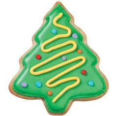 As shiny as tinsel on the tree, our Christmas Tree Cookies will brighten anyone's holiday. Color Flow Icing provides all the sparkle just flow in the tree and add colorful dot ornaments.