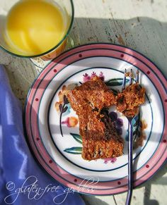 Gluten-free quinoa breakfast cake with carrots and raisins and cinnamon.