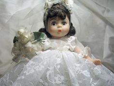 Vintage Dior Madame Alexander Bride Doll in authentic Dior gown