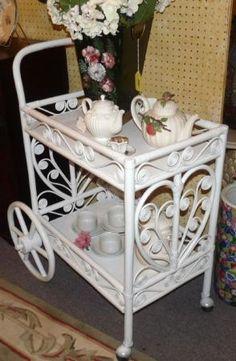 Very pretty wicker/rattan tea cart!