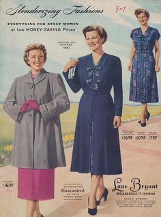 A trio of lovely springtime fashion from the 1951 Lane Bryant catalog that season. #vintage #fashion #1950s #dress #coat #catalog