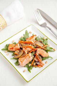 Beautifully vibrant Salmon, Mushroom and Carrot Salad with Pine Nuts. #mushrooms #salmon #salad #seafood #carrots #vegetables #cooking #food #lettuce #pine_nuts