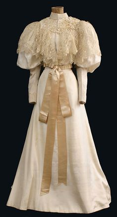 Wedding dress, circa 1895. From Vintage Textile.
